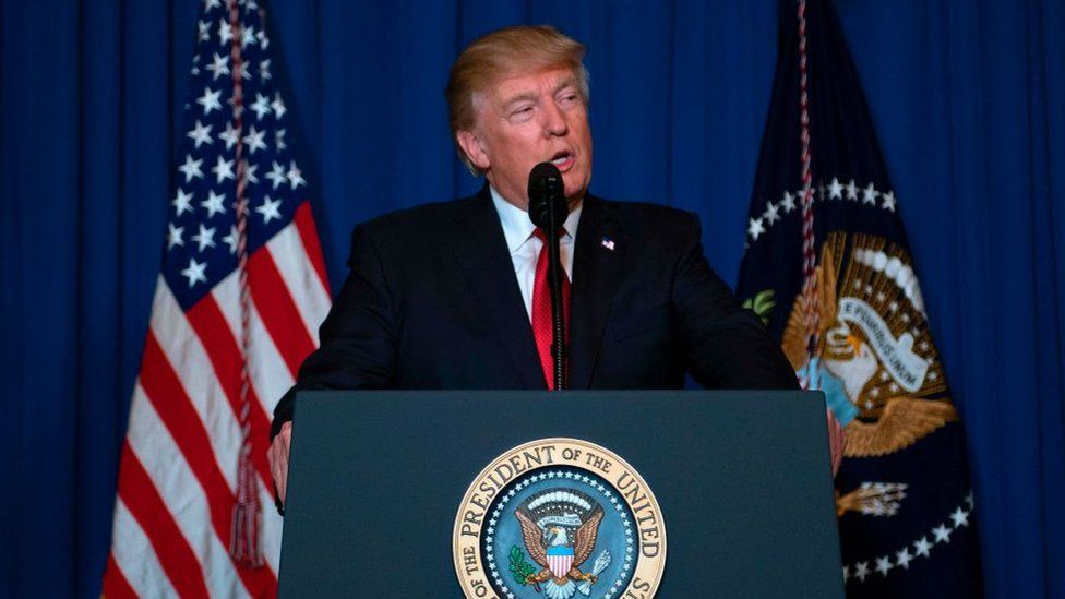 US President Donald Trump delivers a statement on Syria following the military strike against a Syrian air base.