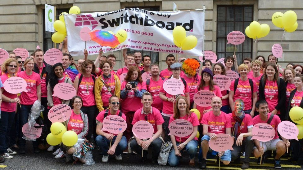 Switchboard supporters at a Pride march