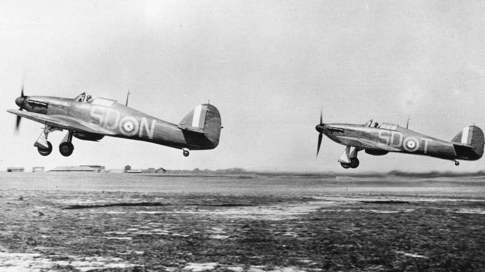 Hurricane fighter planes taking off from Gravesend, after being refuelled and rearmed, during the Battle of Britain. September 1940