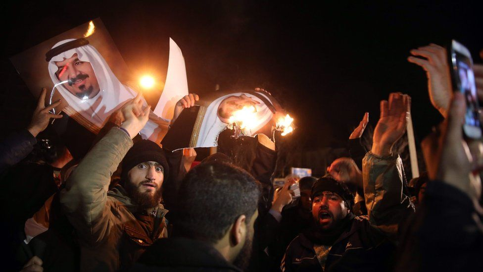 Iranian protesters outside the Saudi embassy in Tehran