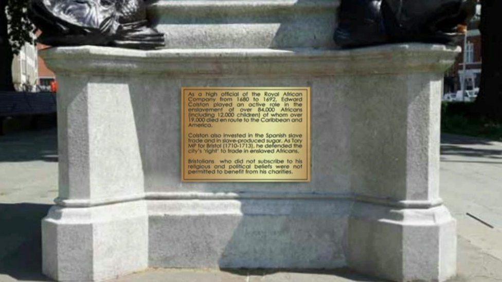 Proposed Colston plaque