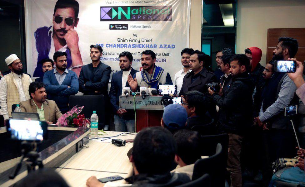 Mr Azad at a media conference in Delhi