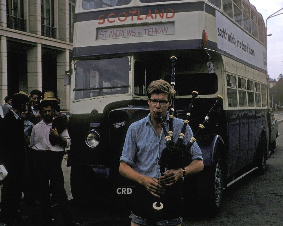 Ian Jack playing bagpipes