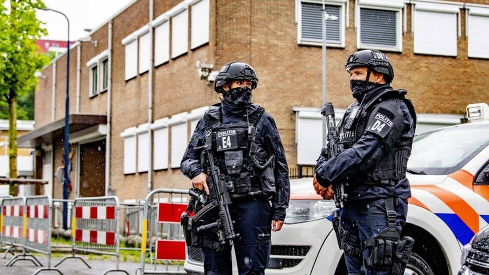 Security at the extra secure court bunker in Amsterdam, the Netherlands
