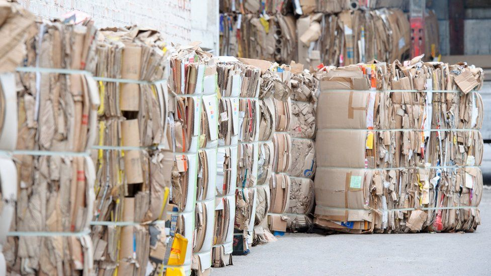 Bales of paper for recycling