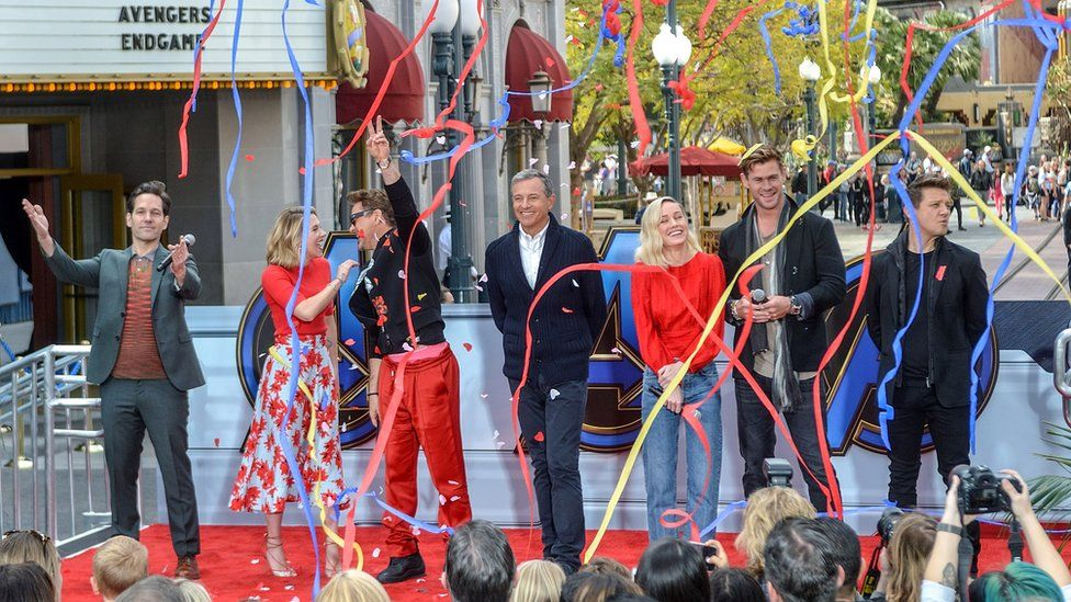 Iger (centre) with the cast of Avengers: Endgame at Disneyland in California