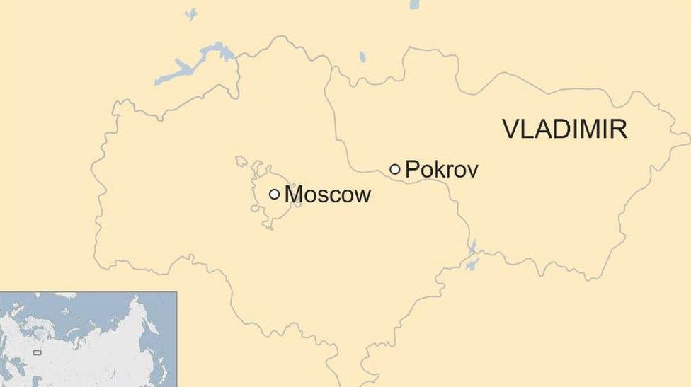 Russian map with Moscow and Pokrov, in Vladimir labelled