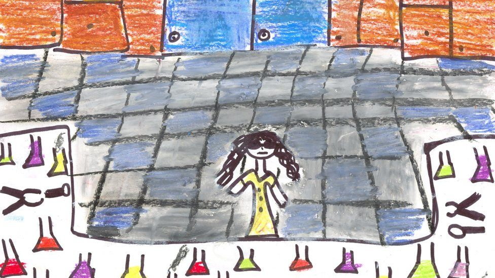 Child's drawing of woman scientist in lab with multicoloured conical flasks