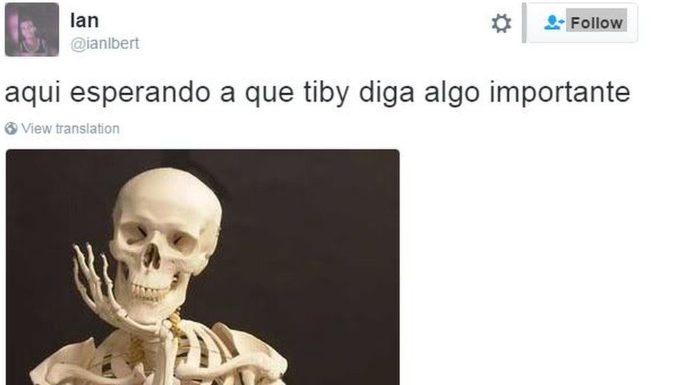 """A picture of a skeleton and a post reading: """"Waiting for Tiby [Venezuelan electoral authority head Tibisay Lucena] to say something important"""""""