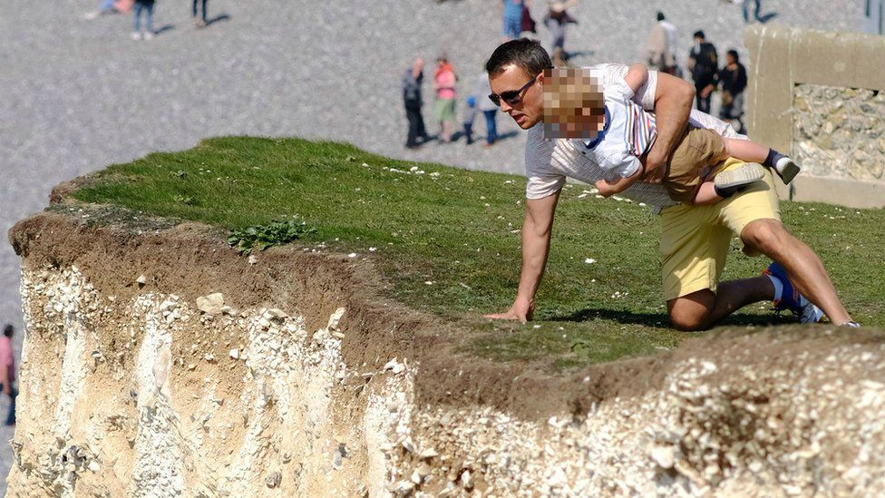 The chalk cliffs are unstable and sections have eroded and collapsed in the past