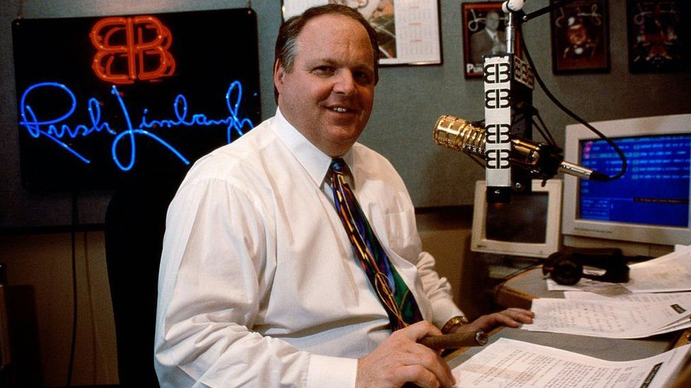 Rush Limbaugh presenting his radio show in 1995