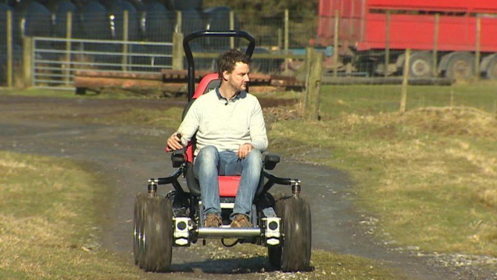 Sion Pearce on his six-wheel hybrid wheelchair Hexhog