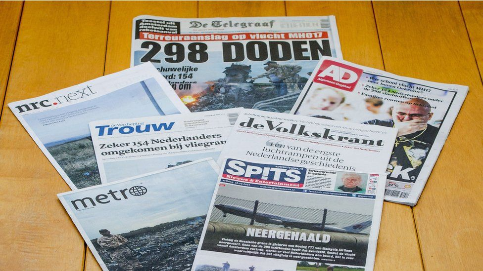 Dutch newspaper front pages