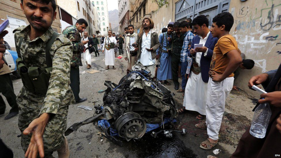 Aftermath of car bomb attack in Sanaa