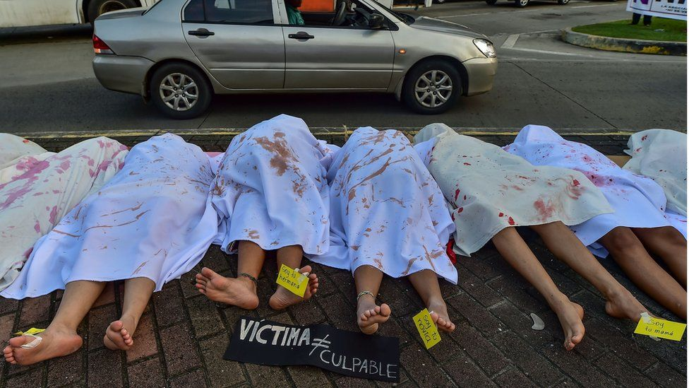 Women perform in memory of women killed in Panama, during the International Day for the Elimination of Violence against Women, in Panama City, on 25 November, 2019.
