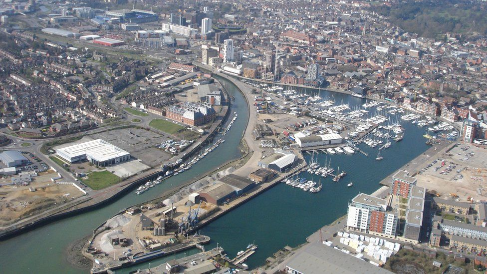 Aerial view of Ipswich waterfront