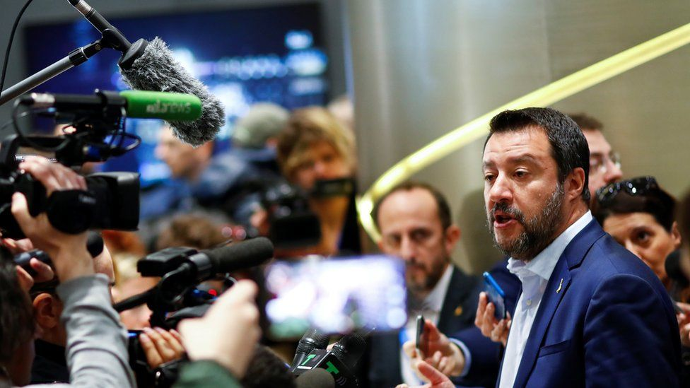 Italy's Deputy Prime Minister Matteo Salvini at the launch of his campaign for the European elections