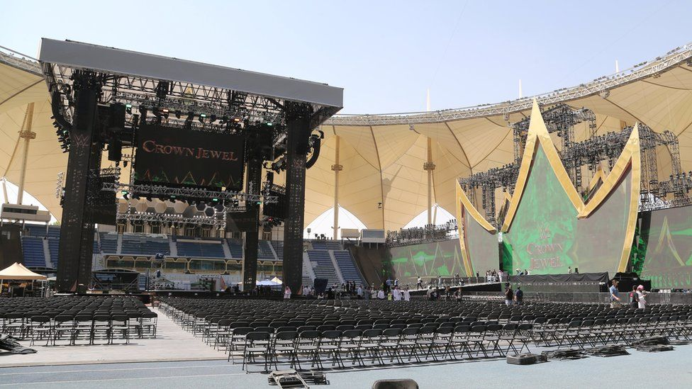 WWE Crown Jewel wrestling ring inside the King Fahd International Stadium in Riyadh, Saudi Arabia