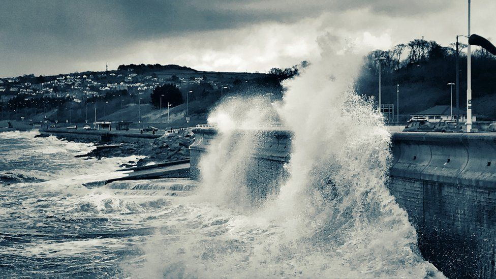 The storm brought waves over the promenade at Colwyn Bay