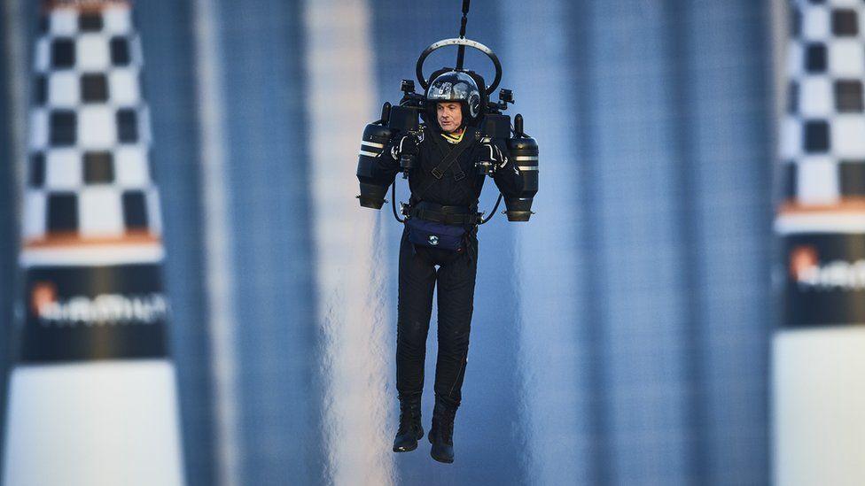 A man using a Jetpack Aviation jetpack
