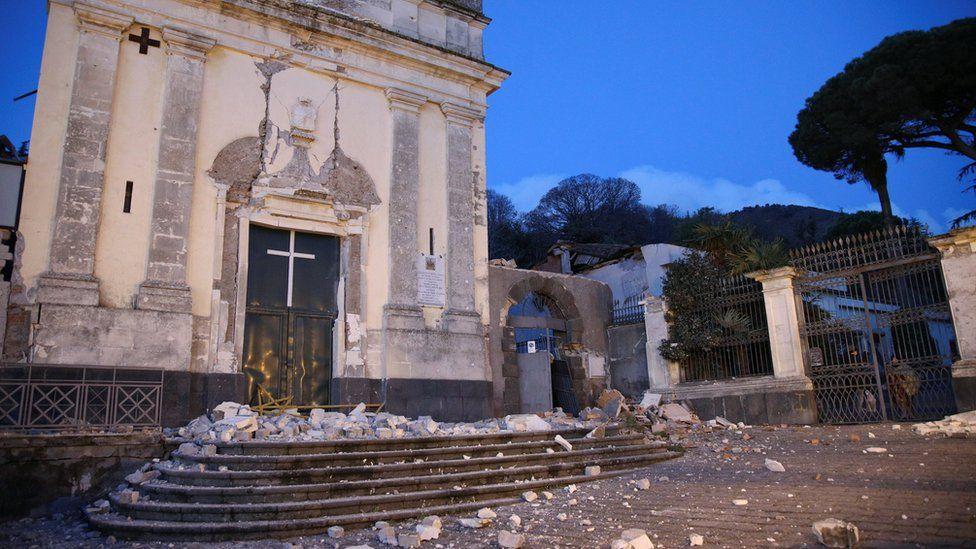 St. Agata church is seen damaged by an earthquake