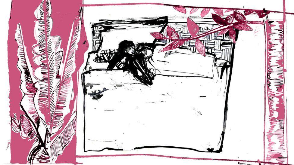 Ilustración mostrando una pareja en la cama.