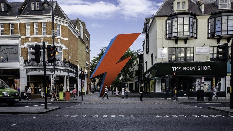 Artist's impression of how the memorial to David Bowie would look