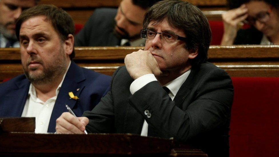 Carles Puigdemont in parliament, 26 October