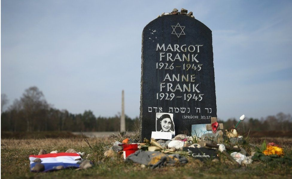 A symbolic tombstone commemorates Anne Frank and her sister Margot on the site of the former Bergen-Belsen concentration camp on March 17, 2015 in Lohheide, Germany