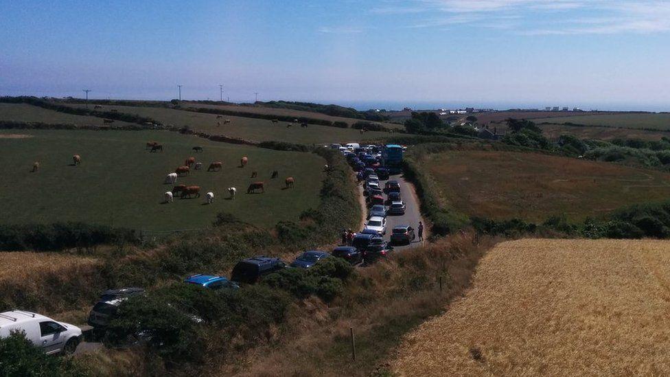 Traffic jam near Porthcurno