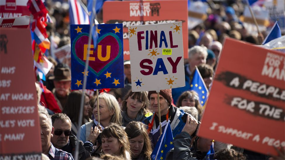 Anti-Brexit campaigners march in Liverpool during the Labour conference