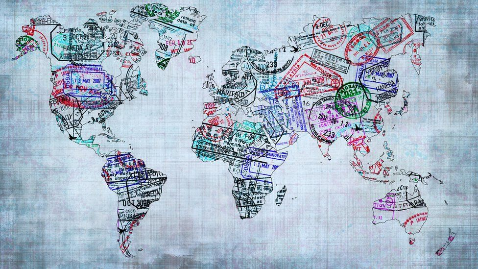 A world map created with passport stamps