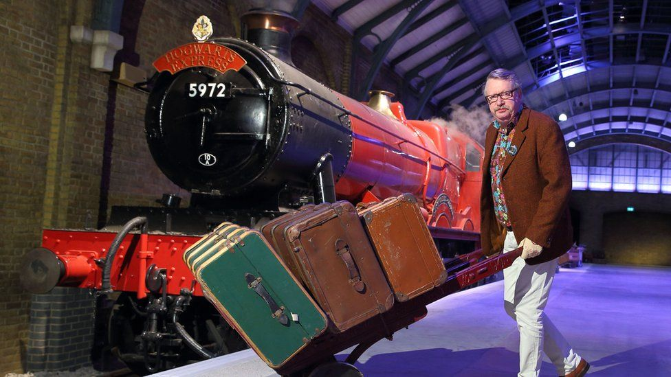 Actor Mark Williams at unveiling of Hogwarts Express at Warner Brothers Studios