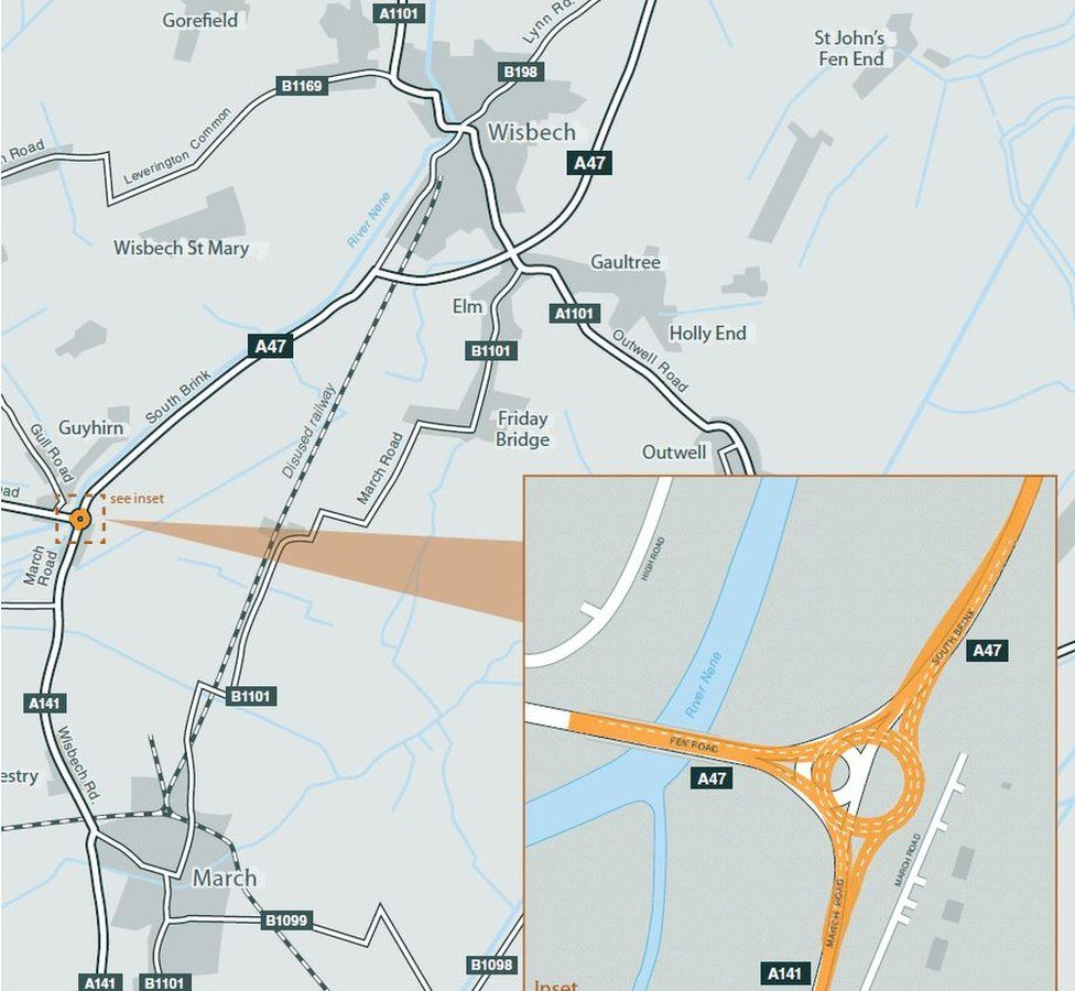 Map outlining A47 upgrade