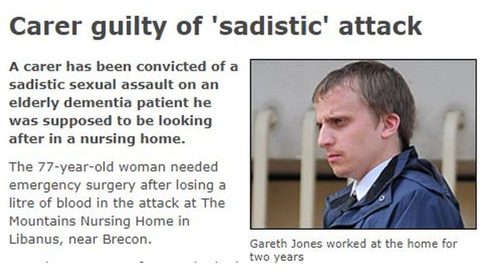 A BBC Wales headline at the time of Gareth's conviction for the alleged attack