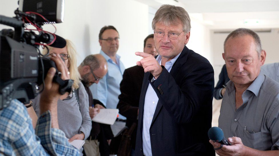 Joerg Meuthen, co-leader of AfD, talks to journalists (6 July)