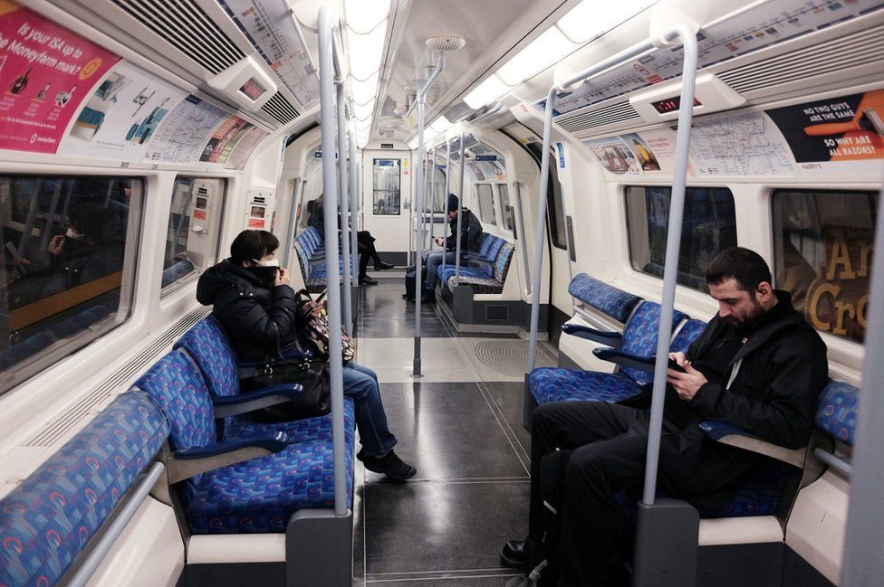A quiet Jubilee line westbound train carriage