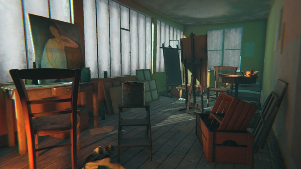 Image of a virtual reality version of Amedeo Modigliani's studio