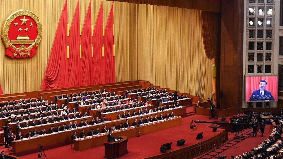 Xi Jinping speaking in parliament