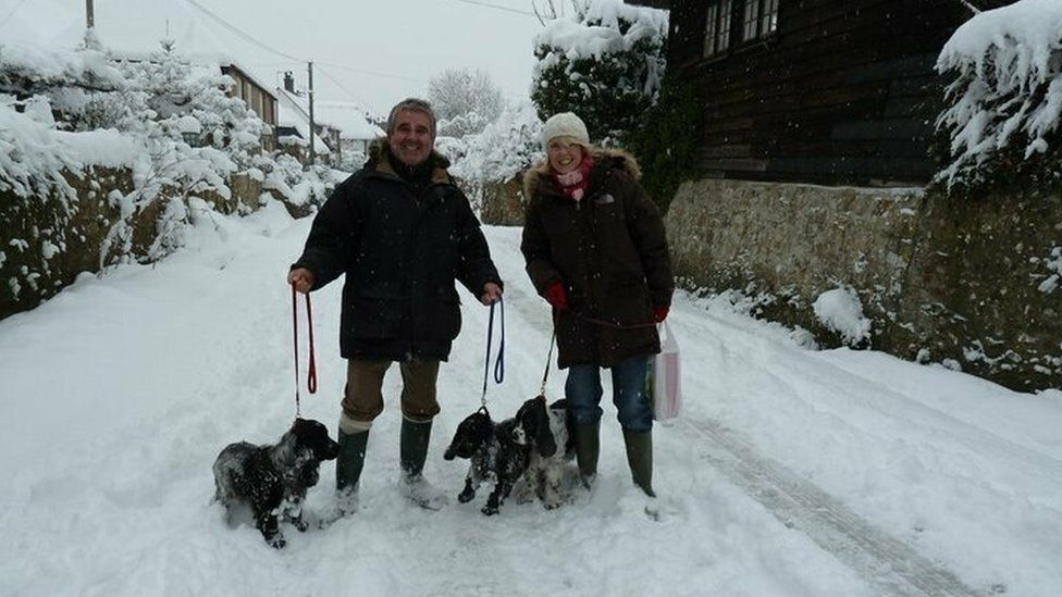 David Harris and Hazel Allinson with her spaniels