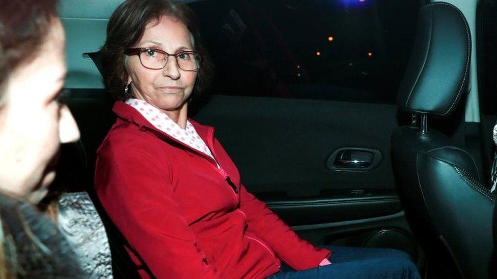 Aparecida Schunck, mother-in-law of Formula One supremo Bernie Ecclestone, leaves a police station in Sao Paulo, Brazil, August 1, 2016.
