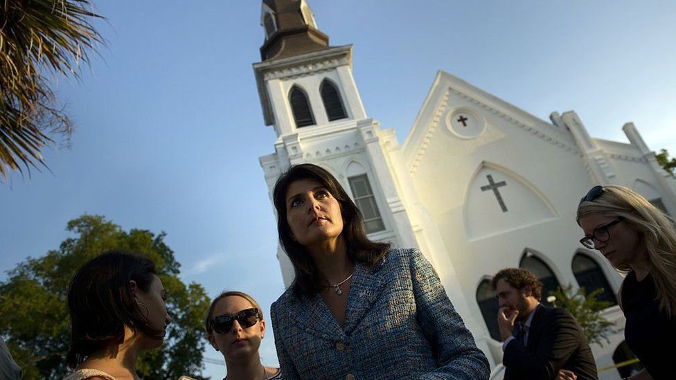 South Carolina Governor Nikki Haley speaks outside the Emanuel AME Church following a deadly shooting in Charleston, South Carolina.