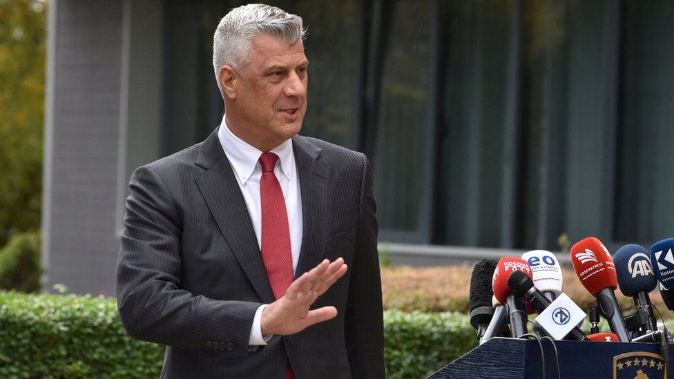 President Hashim Thaci gestures during a news conference as he resigns to face war crimes charges at international court in Pristina, Kosovo, November 5,