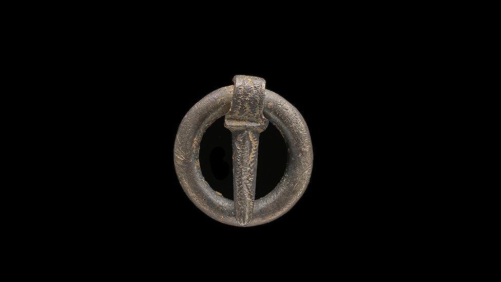 A medieval silver brooch, found in Llanfynydd, Flintshire