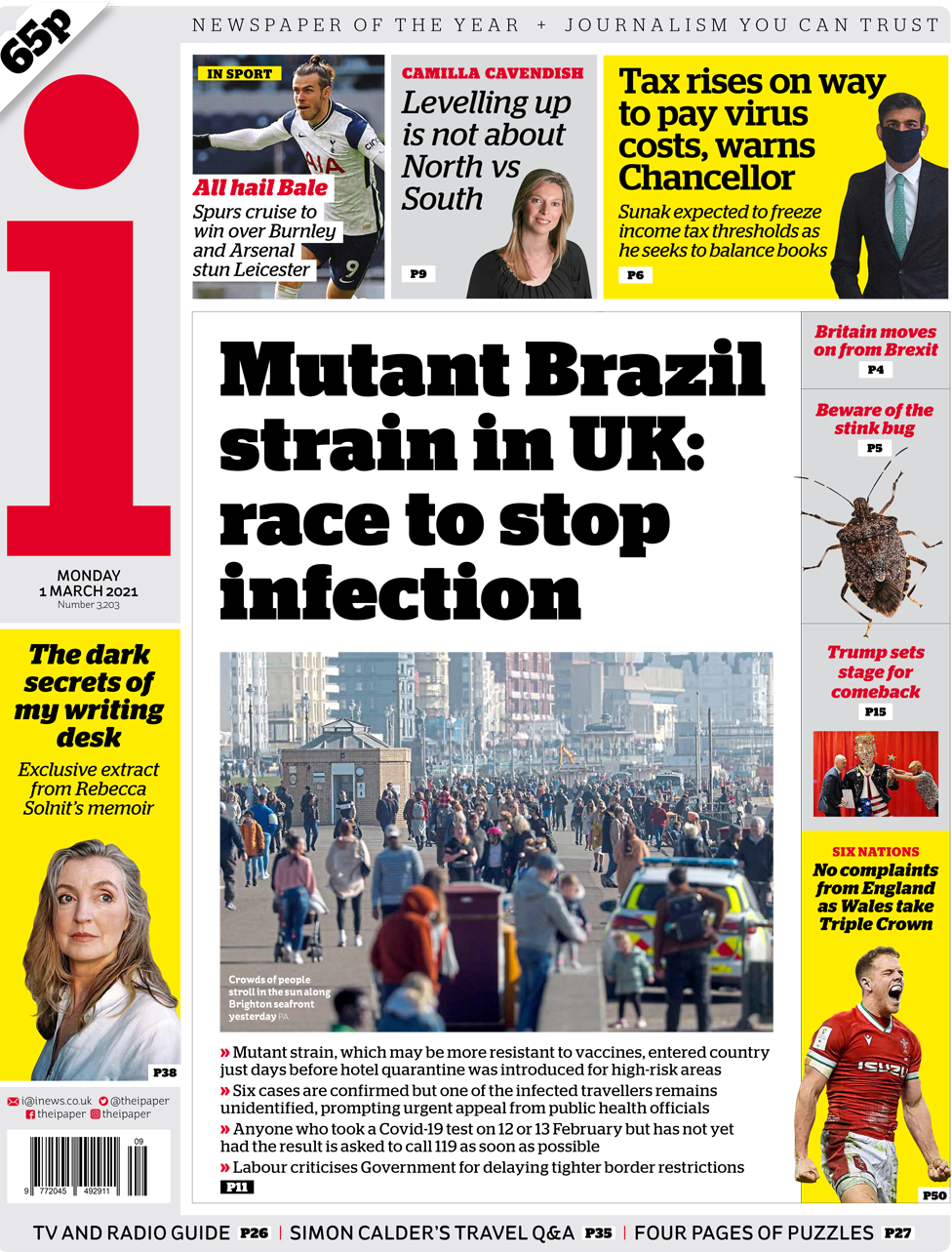 The i front page 1 March 2021