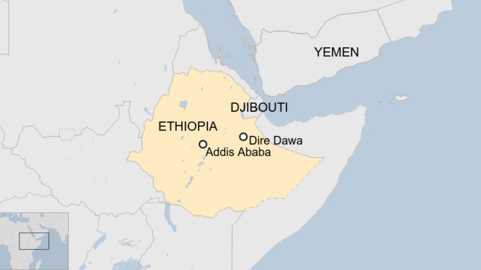 A map showing the locations of Dire Dawa and Addis Ababa in Ethiopia in relation to Djibouti.