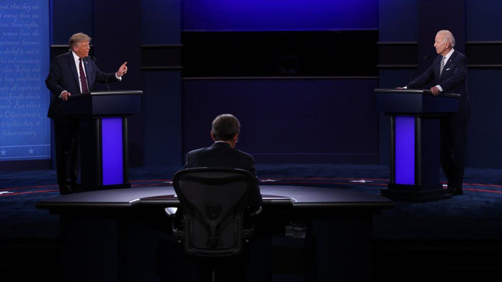 Mr Trump and Mr Biden loudly spoke over each other throughout the contentious debate