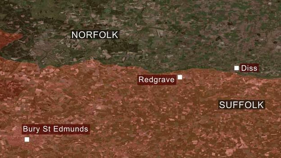 A map of where Redgrave is