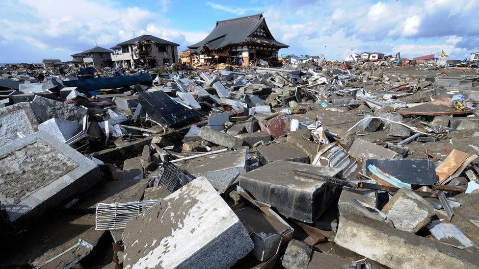 An earthquake-struck temple in Miyagi, Japan