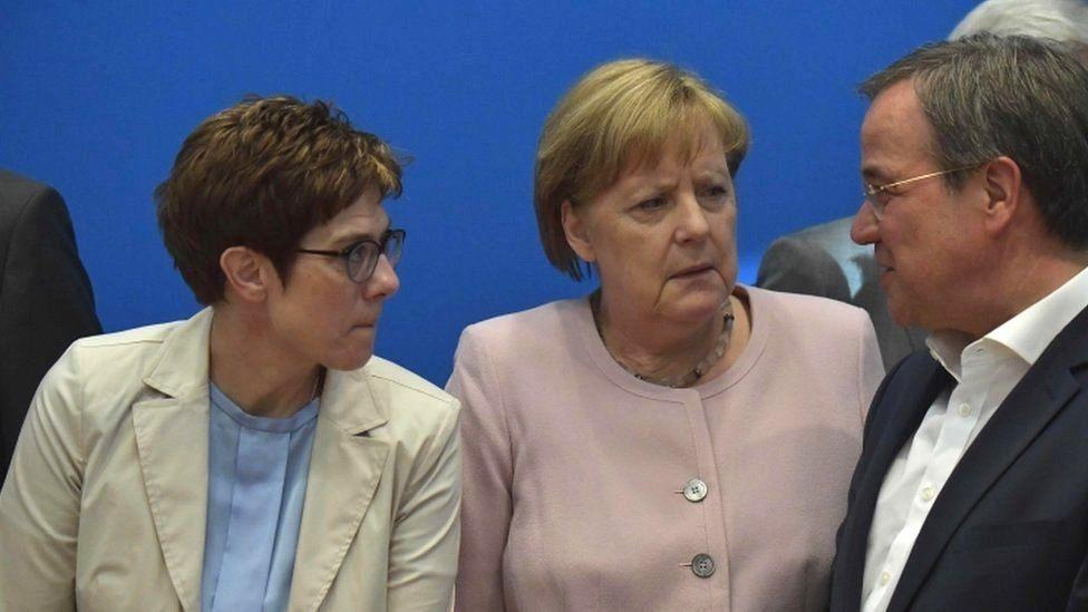 Angela Merkel pictured ahead of a CDU board meeting